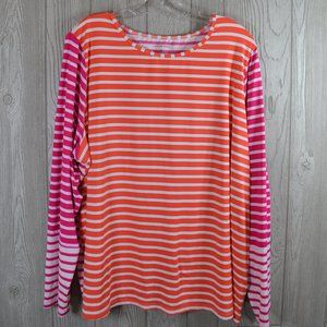 Land's End Long Sleeve Striped Top 2X PLUS SIZE